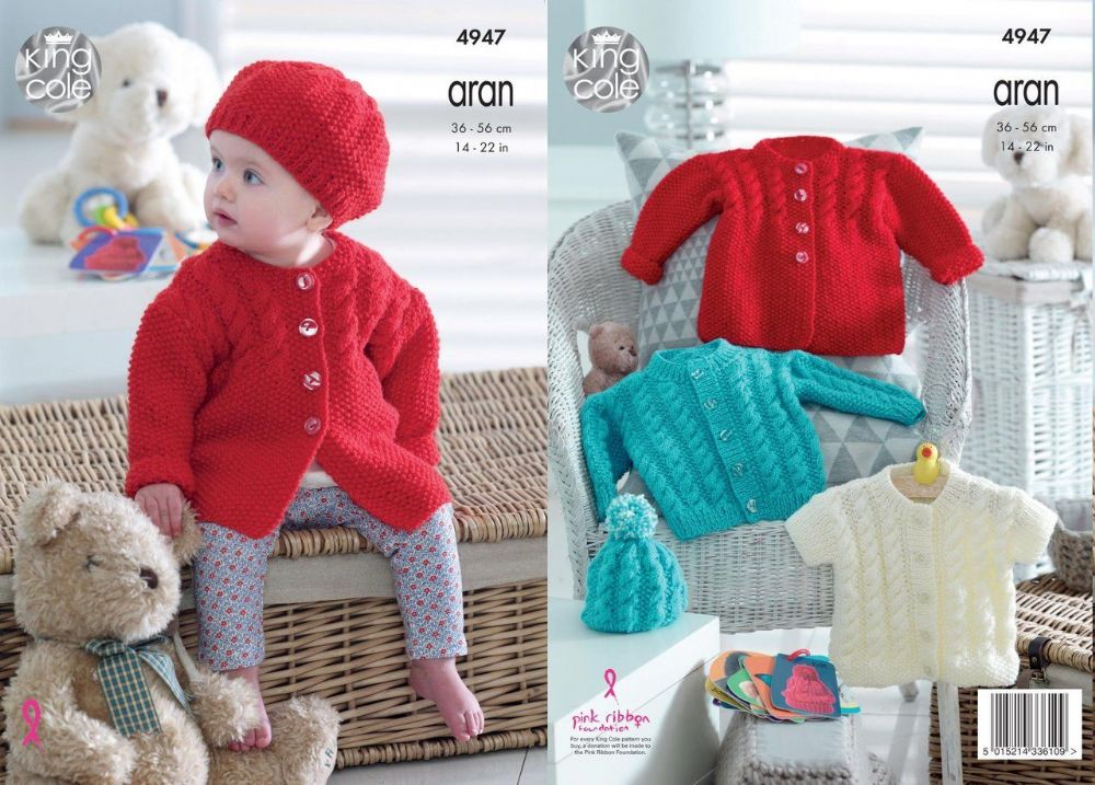 King Cole Knitting Pattern Baby Childrens Cardigan Jacket And Hat 4947